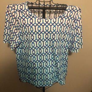 Chico's blue geometric shape top- size 3